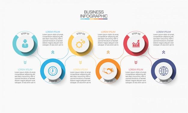 Szablon prezentacji biznesowych infographic z 6 opcjami.