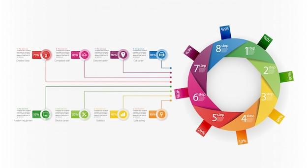 Szablon prezentacji biznesowych infographic z 8 opcjami.