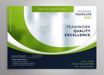 Szablon prezentacji broszura zielony falisty biznes