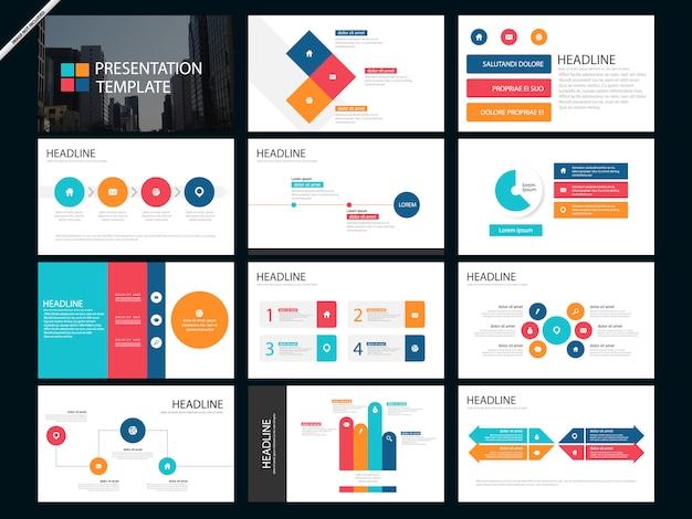 Szablon prezentacji kolorowe infografikę prezentacji