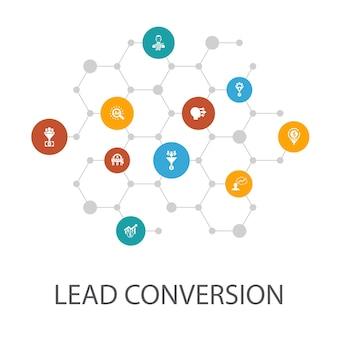 Szablon prezentacji konwersji leadów, układ okładki i infografiki. sprzedaż, analiza, perspektywy, ikony klientów