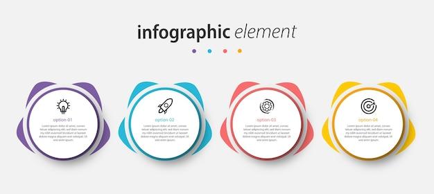 Szablon prezentacji projektu koło wektor infografika z 4 opcjami
