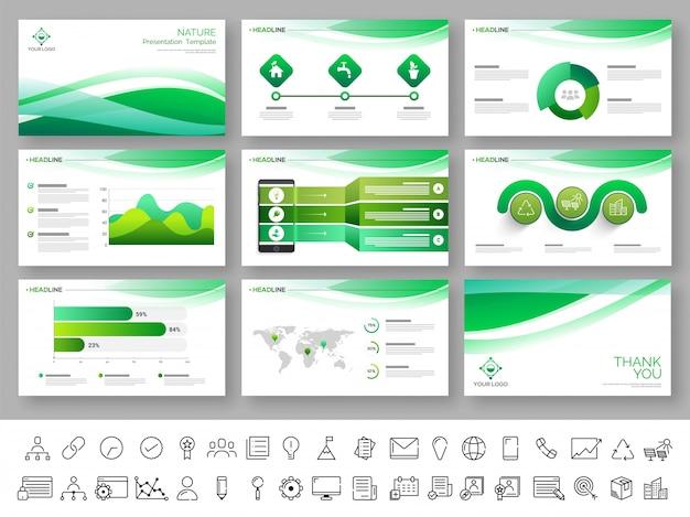 Szablon prezentacji przyrody w kolorach zielonym i białym.