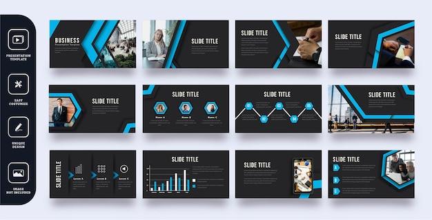 Szablon prezentacji slajdów nowoczesny biznes niebieska strzałka