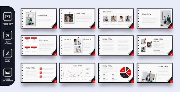 Szablon prezentacji slajdu w stylu papieru