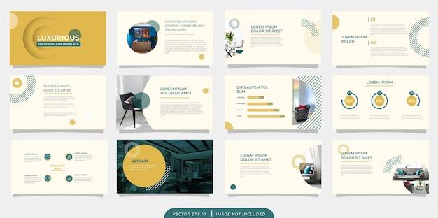 Szablon prezentacji zielony żółty minimalistyczny wzór vintage z ikoną