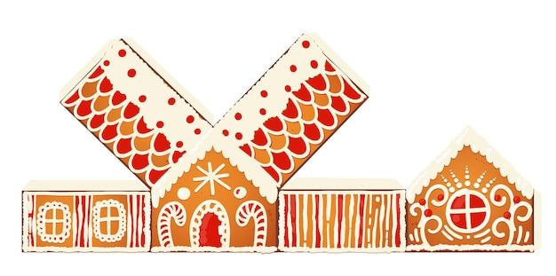 Szablon prezentu domy z piernika. słodkie świąteczne tradycyjne ciasteczka z białym lukrem dekoracji. ilustracja wektorowa.