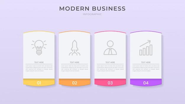 Szablon procesu projektowania elementu organizacji infografika 3d z edytowalnym tekstem i stylem wycinanki.