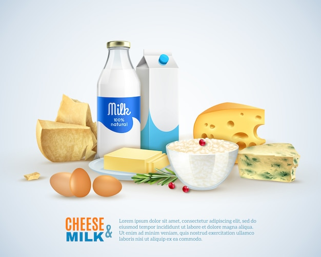 Szablon produktów mlecznych