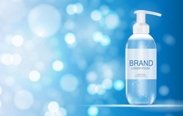 Szablon produktu kosmetyków dla reklam lub czasopisma w tle. żel antybakteryjny, realistyczna ilustracja butelki z mydłem
