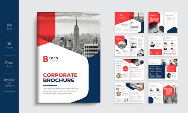 Szablon profilu firmy korporacyjnej projekt minimalny czerwony kolor kształt szablon broszury biznesowej