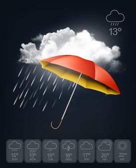 Szablon prognozy pogody. parasol na tle deszczu.