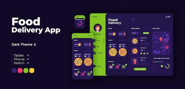 Szablon projektu adaptacyjnego ekranu aplikacji do dostarczania żywności. interfejs trybu nocnego aplikacji do zamawiania włoskich fast foodów z płaskimi ilustracjami. smartfon, tablet, inteligentny zegarek z kreskówkowym interfejsem