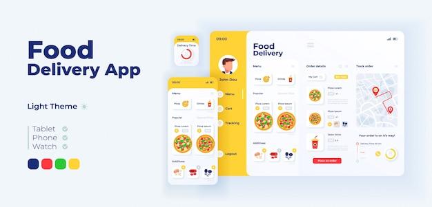 Szablon projektu adaptacyjnego ekranu aplikacji fast food delivery. interfejs trybu oświetlenia aplikacji do zamawiania włoskiej pizzy z płaskimi ilustracjami. smartfon, tablet, inteligentny zegarek z kreskówkowym interfejsem