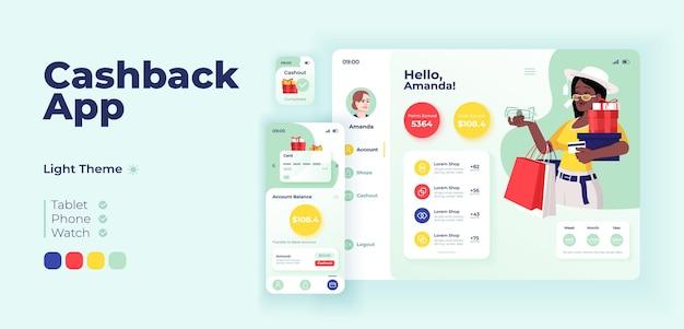 Szablon projektu adaptacyjnego wektorowego ekranu aplikacji cashback. zakupy internetowe, interfejs trybu dziennego wniosku o zwrot pieniędzy z płaskim charakterem. profil klienta smartfon, tablet, kreskówka ui inteligentnego zegarka