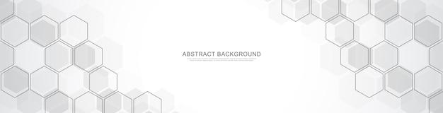 Szablon projektu banera. streszczenie tło z geometrycznymi kształtami i sześciokątnym wzorem.