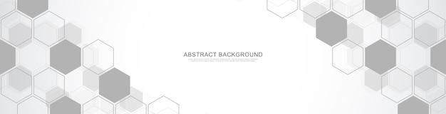 Szablon projektu banera. streszczenie transparent z geometrycznymi kształtami i sześciokątnym wzorem do projektowania medycyny, technologii lub nauki.