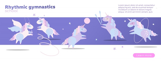 Szablon projektu baneru internetowego dla gimnastyki w szkole. śliczne jednorożce wykonujące gimnastykę z tasiemką, piłką, obręczem, skakanką