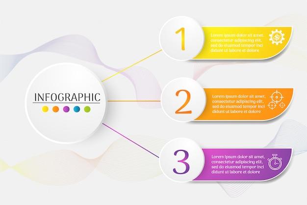 Szablon projektu biznes 3 kroki infographic element wykresu.