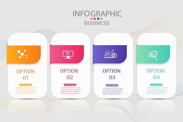Szablon projektu biznes 4 opcje infographic element wykresu.