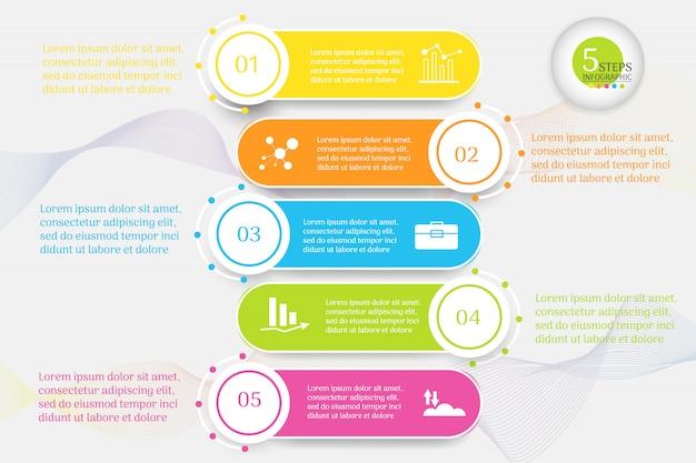 Szablon projektu biznes 5 opcji infographic element wykresu.