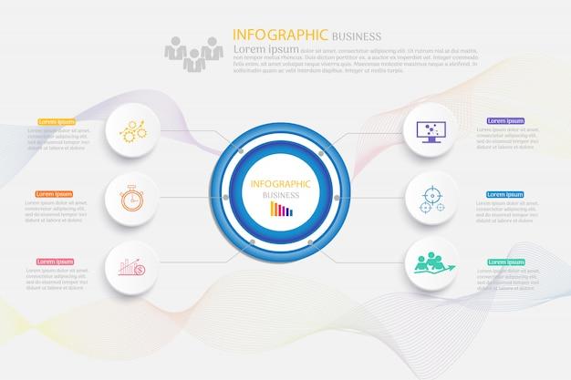 Szablon projektu biznes 6 opcji infographic element wykresu.