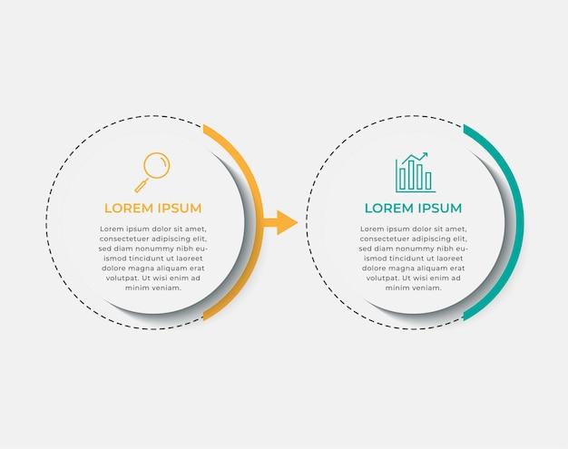 Szablon projektu biznes infografika wektor z ikonami i 2 dwie opcje lub kroki. może być używany do diagramów procesów, prezentacji, układu przepływu pracy, banera, schematu blokowego, wykresu informacyjnego