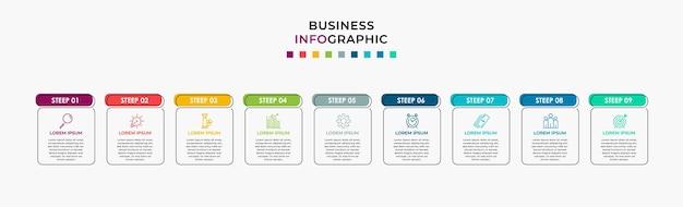 Szablon projektu biznes infografika wektor z ikonami i 9 dziewięcioma opcjami lub krokami