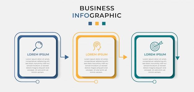 Szablon projektu biznes plansza z ikonami i 3 trzy opcje lub kroki.