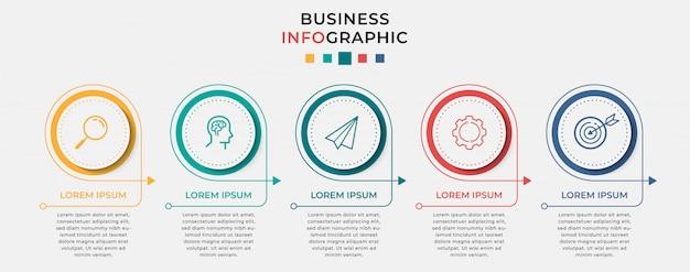 Szablon projektu biznes plansza z ikonami i 5 pięć opcji lub kroków.