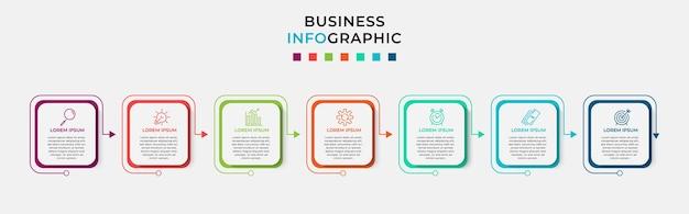 Szablon projektu biznes plansza z ikonami i 7 siedmiu opcji lub kroków.