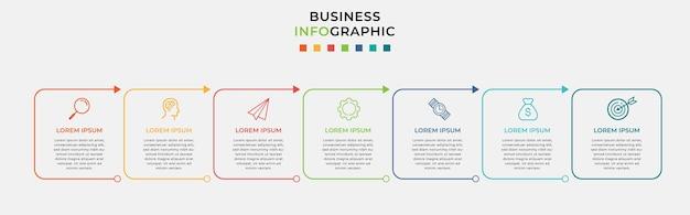 Szablon projektu biznesowego infografika i 7 siedmiu opcji lub kroków.