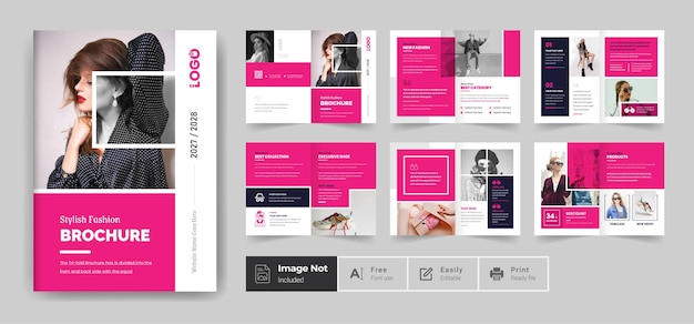 Szablon projektu broszury modowej lub nowoczesny wielostronicowy temat broszury profilu firmy rocznego raportu