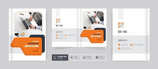 Szablon projektu broszury okładka profil firmy raport roczny strona tytułowa żółty ciemny nowoczesny motyw