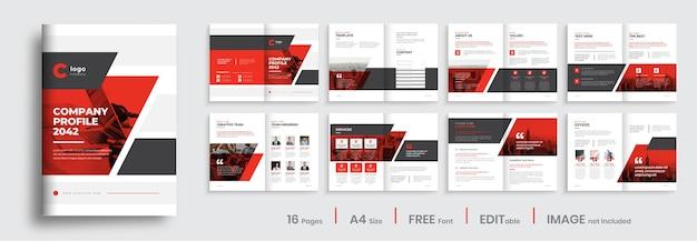 Szablon projektu broszury profilu firmy z czerwonym kolorem kształtuje profesjonalny układ projektu broszury biznesowej