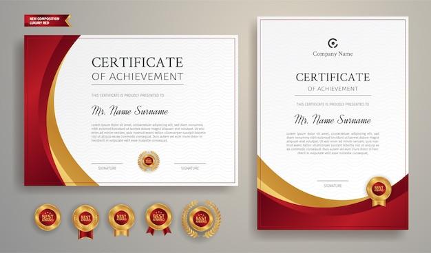Szablon projektu certyfikatu poziomego i pionowego z czerwoną ramką i złotymi odznakami