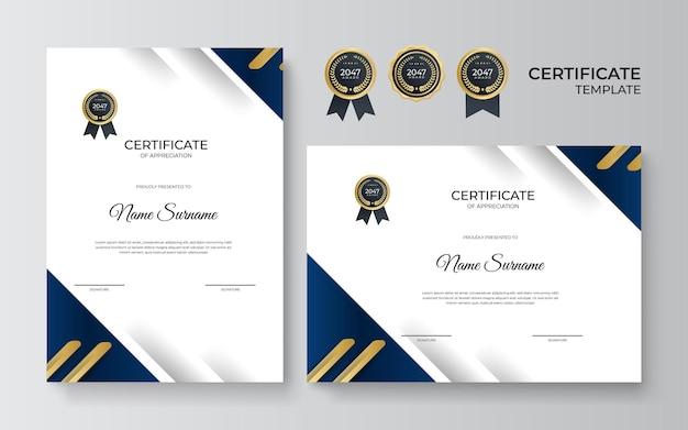Szablon projektu certyfikatu uznania w kolorze niebieskim i złotym. luksusowy układ dyplomu biznesowego do ukończenia szkolenia lub ukończenia kursu. ilustracja wektorowa tła