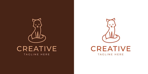 Szablon projektu cute fox logo ilustracja wektorowa cute little fox vintage modern logo design line design template