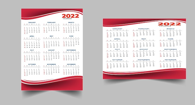 Szablon projektu czerwony kalendarz w stylu geometrycznym 2022