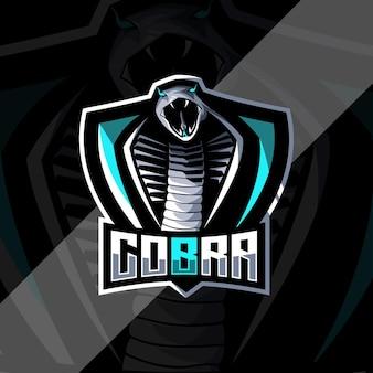 Szablon projektu e-sportowego logo maskotki węża kobry