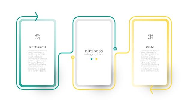 Szablon projektu elementu cienka linia biznesowa ilustracja wektorowa z 2 opcjami lub krokami