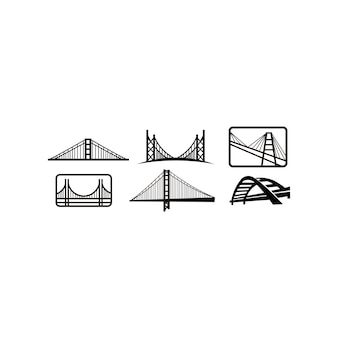 Szablon projektu emblemat logo mostu. miasto punktu zwrotnego budynku ikony wektoru ilustracja