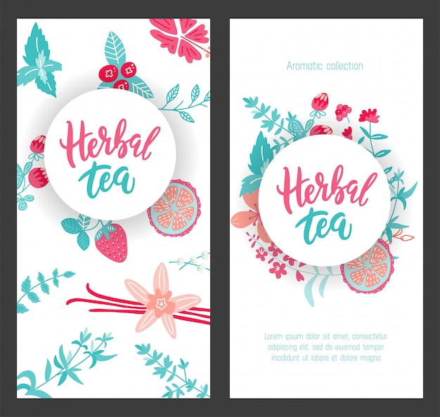 Szablon projektu etykiety dla herbaty ziołowej