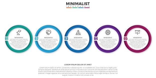 Szablon projektu etykiety infografikę minimimslist