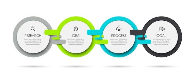 Szablon projektu etykiety infografiki z 4 opcjami lub krokami. może być używany do diagramów procesów, prezentacji, układu przepływu pracy, banera, schematu blokowego, wykresu informacyjnego.