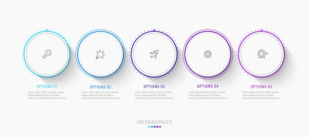 Szablon projektu etykiety infografiki z 5 opcjami lub krokami.