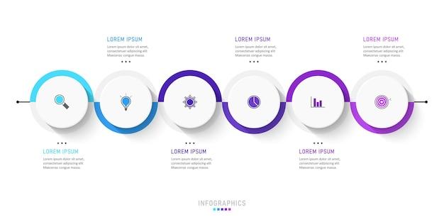Szablon projektu etykiety infografiki z 6 opcjami lub krokami.
