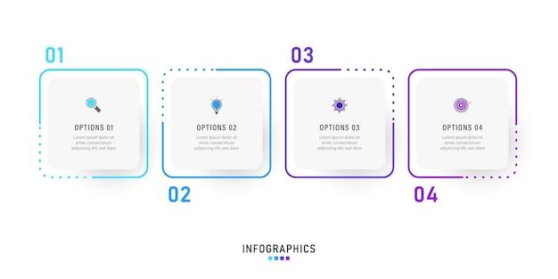 Szablon projektu etykiety plansza z ikonami i 4 opcjami lub krokami