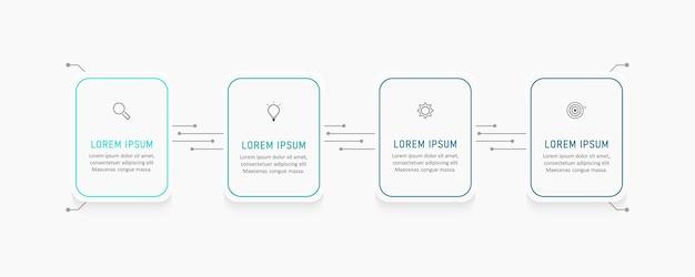 Szablon projektu etykiety plansza z ikonami i 4 opcjami lub krokami.