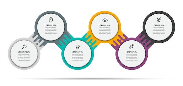 Szablon projektu etykiety plansza z ikonami i 6 opcji lub kroków.